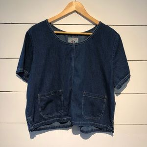 Vintage Denim Crop Top With Pockets